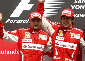 Massa y Alonso en el podio del Gran Premio de Alemania.