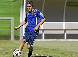 Ander Herrera durante un entrenamiento con el Zaragoza.