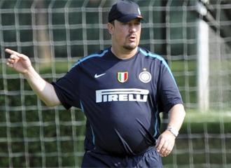 Ben�tez, en un entrenamiento con el Inter.