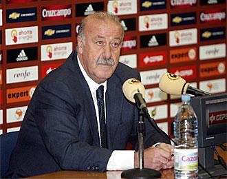 Del Bosque, en una rueda de prensa en la Ciudad del F�tbol de Las Rozas