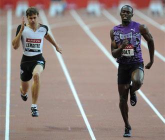 Usain Bolt, durante la Diamond League que se est� disputando en Suecia