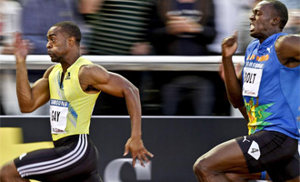 Tyson Gay fue muy superior a Bolt en los 100 metros en Estocolmo.
