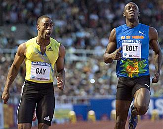 Tyson Gay bati� a Usain Bolt en Estocolmo
