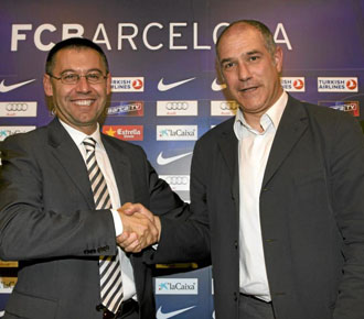 Josep Mar�a Bartomeu, vicepresidente deportivo del Bar�a, el d�a de la presentaci�n de Andoni Zubizarreta como director deportivo del equipo Blaugrana.