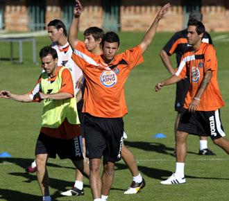 Manu se ejercita con el resto del equipo en la pretemporada del Getafe.