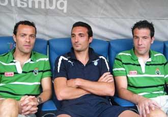 Scaloni, ahora en la Lazio, coincidi� con sus ex compa�eros del Racing