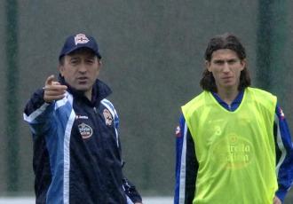 Lotina y Filipe Luis, juntos en un entrenamiento