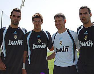 Felipe Ramos, el primero por la izquierda, en la pretemporada del Castilla