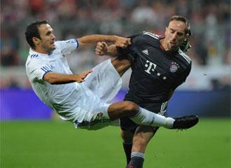 Ricardo Carvalho, durante un lance del encuentro ante el Bayern de Munich
