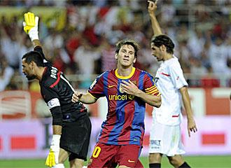 Messi se lamenta tras fallar una ocasi�n en las postrimer�as del encuentro.