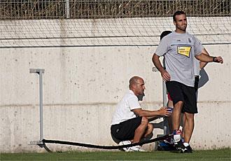 Mois�s Hurtado se ejercita este lunes en la ciudad deportiva del Espanyol.