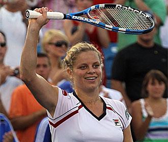 Clijsters celebra su victoria en Cincinnati.