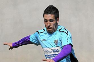 Daniel Toribio durante un entrenamiento con el M�laga