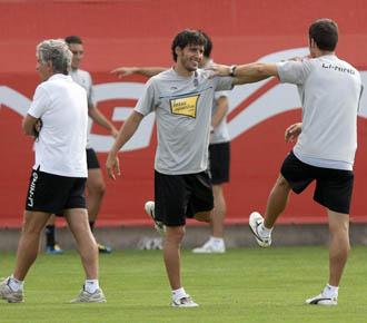 Coro, de cara, se ejercita durante la pretemporada del Espanyol.