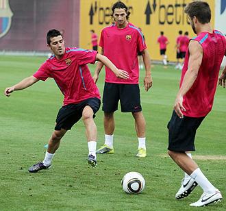 Villa e Ibrahimovic, en un entrenamiento.