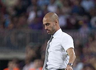 Guardiola, durante el partido del Camp Nou