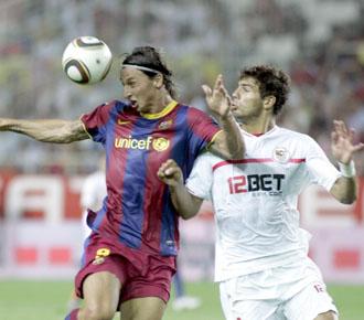 Ibrahimovic marc� para el Bar�a en el partido de ida de la Supercopa de Espa�a.