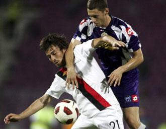 Silva, en un partido amistoso con el City
