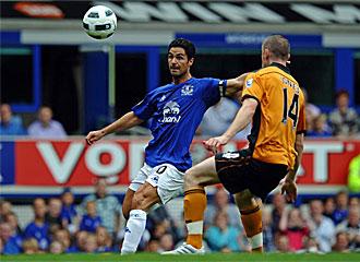 Arteta esta s�bado en el partido del Everton frente al Wolverhampton.