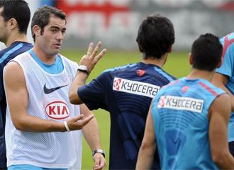 Antonio L�pez, durante el entrenamiento