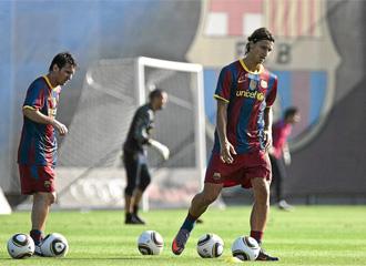 Ibrahimovic, durante un entrenamiento del FC Barcelona