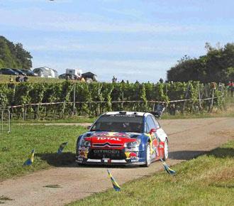 Sebastien Loeb durante un tramo del rally de Alemania.