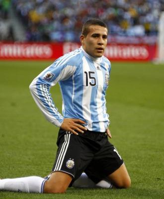 Otamendi, en un partido con Argentina en el Mundial de Sud�frica.