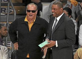 Doc Rivers bromeando con Jack Nicholson