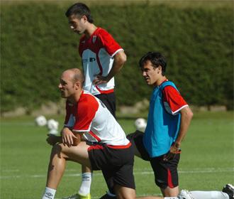 David L�pez, durante un entrenamiento del Athletic