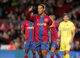 Ronaldinho en su etapa como barcelonista.