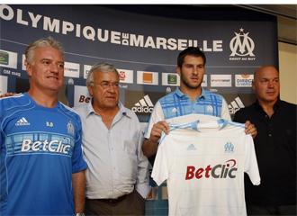 Andre-Pierre Gignac, durante su presentaci�n como nuevo jugador del Olympique de Marsella