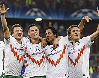 Los jugadores del Werder Bremen celebran su clasificaci�n
