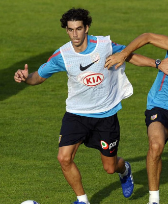 Tiago, en un entrenamiento del Atl�tico.