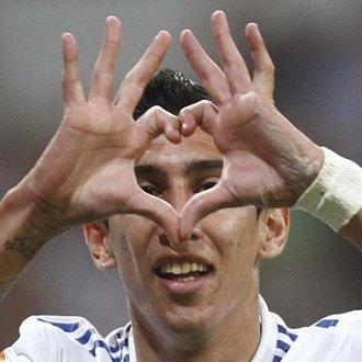 Di Mar�a celebra el gol que abr�a el marcador ante el Pe�arol.