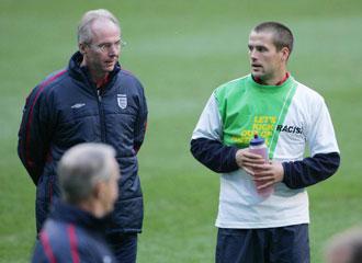 Eriksson en un entrenamiento cuando era Seleccionador de Inglaterra
