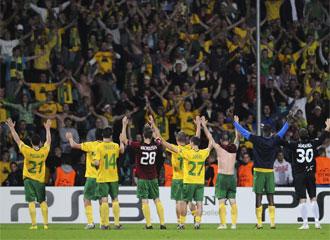 Los jugadores del Zilina celebran el pase a la fase de grupos de la Liga de Campeones.