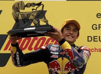 M�rquez celebrando su victoria en el Gran Premio de Alemania