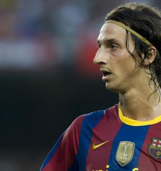 Ibrahimovic, durante el partido del Gamper ante el Milan.
