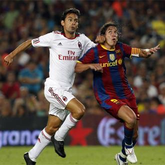 Carles Puyol, durante el encuentro que enfrent� a Bar�a y Milan en el Gamper.