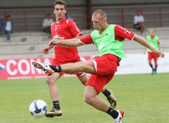 Ludovic Delporte en un entrenamiento con Osasuna