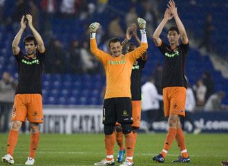 C�sar celebra una victoria con el Valencia