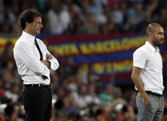 El entrenador italiano, Allegri, junto a Pep Guardiola en el pasado Joan Gamper