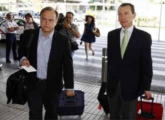 Butrague�o y Pardeza, durante un viaje con el Real Madrid.