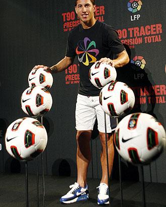 Sergio Ramos el pasado mi�rcoles durante la presentaci�n del bal�n de la Liga.