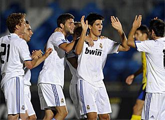 Los jugadores del Castilla celebran un tanto de esta pretemporada