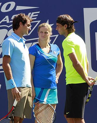 Nadal y Federer, durante un acto para ni�os previo a la disputa del US Open.