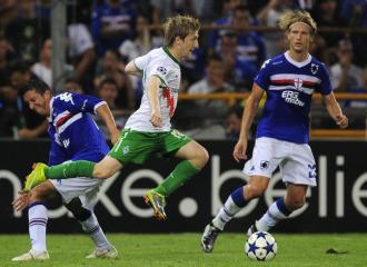 Stankevicius, durante un encuentro con la camiseta de la Sampdoria.