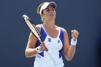 Mar�a Jos� Mart�nez celebra su triunfo ante Jamie Hampton en el US Open.