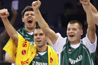 Eslovenia celebra la victoria sobre Brasil