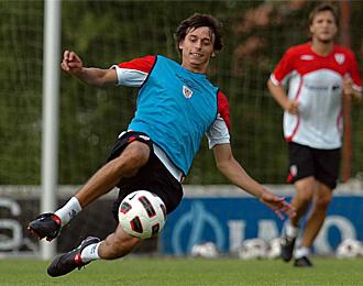 Iturraspe, en un entrenamiento con el Athletic